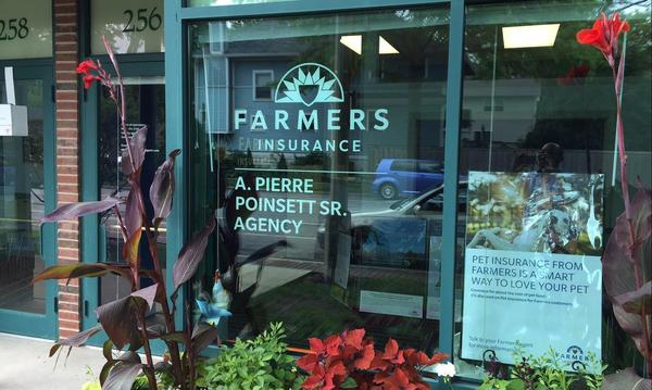 The front door to the A. Pierre Poinsett Sr. Agency with Farmers Insurance.