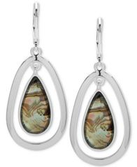 Image of Anne Klein Colored Stone Orbital Drop Earrings