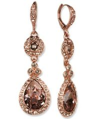 Image of Givenchy Rose Gold-Tone Swarovski Element Double Drop Earring