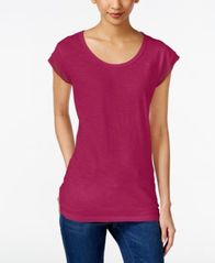 Image of Style & Co Chiffon-Trim T-Shirt, Created for Macy's