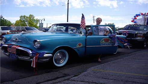 Our 1956 Oldsmobile 88 Rocket featured in the Elko 4th of July parade.