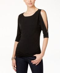 Image of INC International Concepts Cold-Shoulder Zipper Top, Created for Macy's