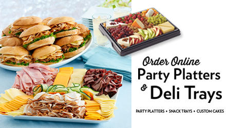 Photo of Deli Sandwiches, meats and cheeses.  Order Online Party Platters and Deli Trays.