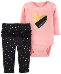 Image of Carter's Baby Girls 2-Pc. Cotton Mom Bodysuit & Heart-Print Pants Set