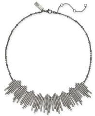 "Image of I.N.C. Hematite-Tone Crystal Bar Fringe Collar Necklace, 16"" + 3"" extender, Created for Macy's"