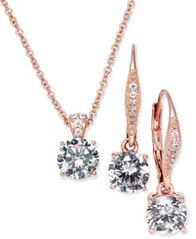 Image of Danori Cubic Zirconia Solitaire Pendant Necklace and Matching Drop Earrings Set, Created for Macy's