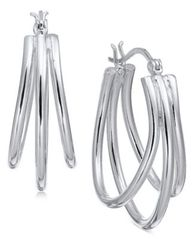 Image of Essential Medium Silver Plated Triple Oval Hoop Earrings