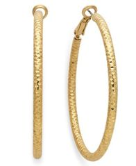 "Image of Thalia Sodi Large 2"" Textured Hoop Earrings"