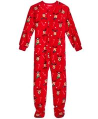 Image of Family Pajamas 1-Pc Reindeer Footed Pajamas, Big Boys' or Big Girls' (4-16), Created for Macy's