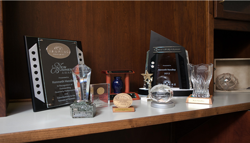 Awards on a shelf