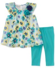 Image of Kids Headquarters 2-Pc. Floral-Print Tunic & Leggings Set, Baby Girls