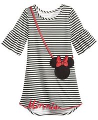 Image of Disney Little Girls Striped Minnie Mouse Purse Dress