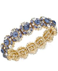 Image of Charter Club Gold-Tone Crystal & Stone Stretch Bracelet, Created for Macy's
