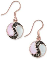 Image of Marcasite & Mother-of-Pearl Disc Drop Earrings in Rose Gold-Plate