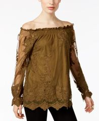 Image of Marled Floral-Mesh Off-The-Shoulder Peasant Top