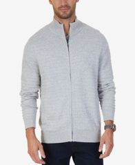 Image of Nautica Men's Mock-Neck Full-Zip Cardigan Sweater