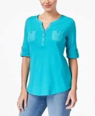 Image of Karen Scott Cotton Roll-Tab-Sleeve Henley, Created for Macy's