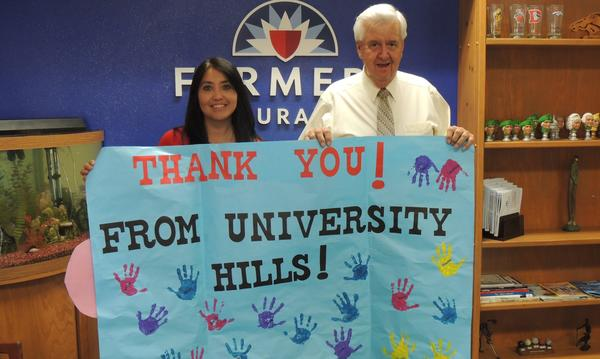 Thank you card from University Hills Elementary for helping them go on their field trip!