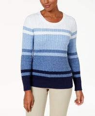 Image of Karen Scott Cotton Striped Cable-Knit Sweater, Created for Macy's
