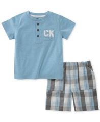 Image of Calvin Klein 2-Pc. Henley T-Shirt & Plaid-Print Shorts Set, Baby Boys
