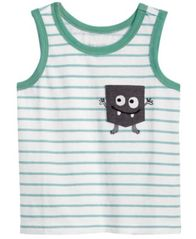Image of First Impressions Striped Monster-Pocket Cotton Tank Top, Baby Boys, Created for Macy's