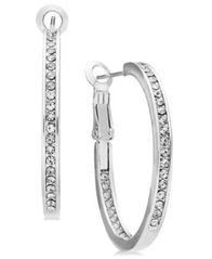 Image of Essentials Medium Silver Plated Crystal Inside Out Hoop Earrings