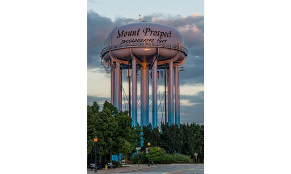 A water tower in Mount Prospect, IL..