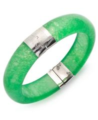 Image of Sterling Silver Bracelet, Jade Bangle