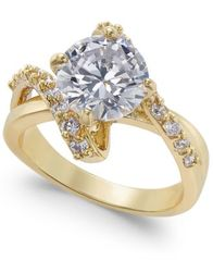Image of Charter Club Gold-Tone Crystal Bypass Ring, Created for Macy's