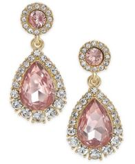 Image of Charter Club Gold-Tone Pavé & Colored Crystal Drop Earrings, Created for Macy's