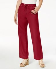 Image of JM Collection Linen-Blend Wide-Leg Pants, Created for Macy's
