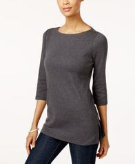 Image of Karen Scott Cotton Boat-Neck Tunic Top, Created for Macy's