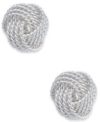 Image of Giani Bernini Knot Stud Earrings in Sterling Silver, Created for Macy's