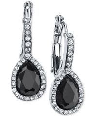 Image of 2028 Silver-Tone Jet Black Stone and Crystal Drop Earrings, a Macy's Exclusive Style
