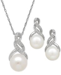 Image of Cultured Freshwater Pearl (8 & 9mm) and Diamond Accent Pendant Necklace and Earrings Set in Sterling