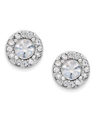 Image of Charter Club Silver-Tone Clear Circle Stud Earrings