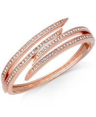 Image of Charter Club Rose Gold-Tone Pavé Bypass Bangle Bracelet, Created for Macy's