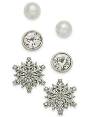 Image of Holiday Lane Silver-Tone 3-Pc. Set Snowflake Crystal & Imitation Pearl Stud Earrings, Created for Ma