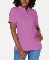 Image of Karen Scott Cotton Piqué Polo Top, Created for Macy's