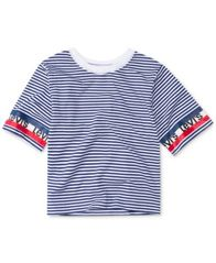 Image of Levi's® Big Girls Striped Cotton Crop T-Shirt