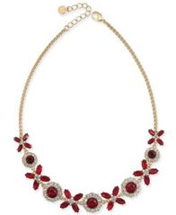"Image of Charter Club Gold-Tone Crystal & Stone Collar Necklace, 17"" + 2"" extender, Created for Macy's"