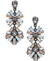 "Image of I.N.C. Large Black-Tone Neutral Crystal Double Drop Earrings, 2"", Created for Macy's"