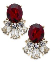 Image of Charter Club Gold-Tone Clear & Red Crystal Stud Earrings, Created for Macy's