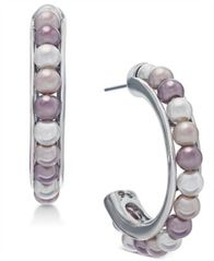 Image of Charter Club Silver-Tone Imitation Pearl Open Hoop Earrings, Created for Macy's