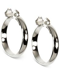 "Image of Anne Klein Silver-Tone E-Z Comfort Clip 1 1/4"" Wide Hoop Earrings"