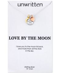Image of Unwritten I Love You to the Moon and Back Charm Pendant Necklace in Sterling Silver