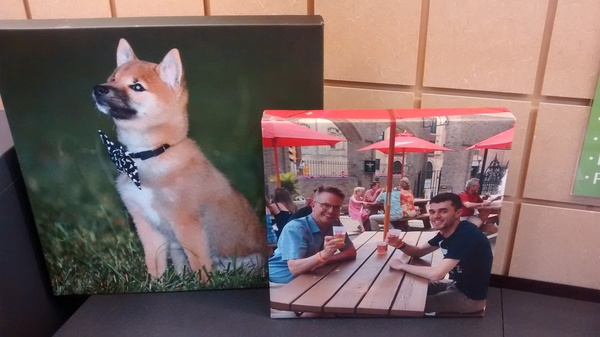 image containing canvas prints of dog and family photo
