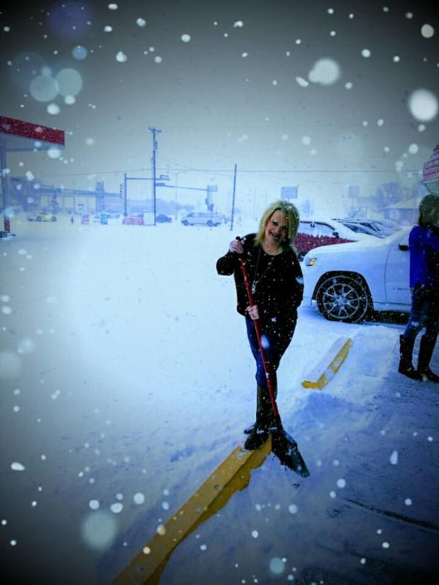 Crystal Hester - Even in the snow I am out sweeping the sidewalks and putting down salt for you, the customer to have a safe stay. Come inside and enjoy a cup of coffee.
