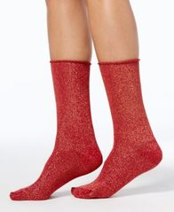 Image of HUE® Women's Metallic Roll-Top Socks