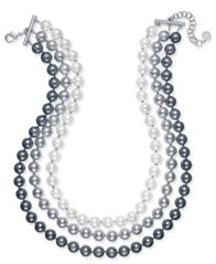 Image of Charter Club Imitation Pearl Ombré Three-Row Collar Necklace, Created for Macy's